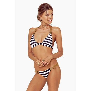 Buckled Tri Bikini Top - Stripe