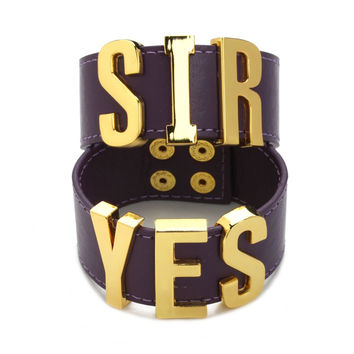 Suicide Squad Yes Sir Letter Bracelets Purple Harley Quinn Leather Prop Wristband Bracelet for Halloween Cosplay Accessories