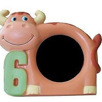 """Brown Cow 6th Birthday 6 Years Old Picture Frame 3"""" x 5"""" Cute Photo Frame"""