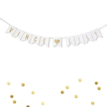 Custom Personalized White and Gold Glitter Bride and Groom Names Wedding Flag Banner, Engagement Photo Prop, Save the Date Thank You White Paper Garland Decoration