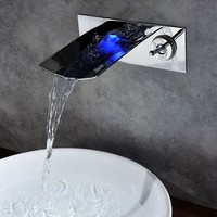 Sumerain Single Handle Wall Mount LED Waterfall Bathroom Sink Faucet - S1333CM