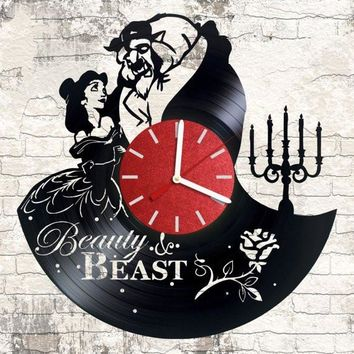 BEAUTY AND THE BEAST 4 VINYL RECORD WALL CLOCK UNIQUE DESIGN