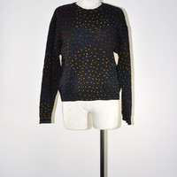 80s neon polka dot sweater / vintage 1980s black cropped wool sweater / Light Up The Sky jumper