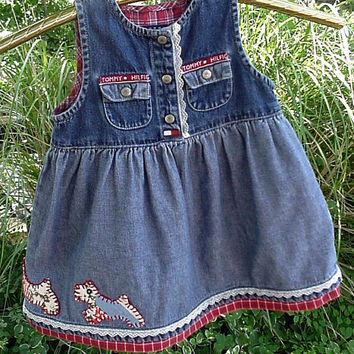 Toddler Denim Dress Tommy Blue Jean Jumper Cutter Quilt Scottie Dog Appliques Original Eco OOAK Baby Girl 12 to 18 mo itsyourcountryspirit