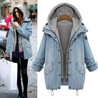 Winter Fashion Denim Coats Hoodie Jackets Women 2 Pieces Oversized Coat Jean Zipper Pocket Button Overcoat Hooded Outerwear