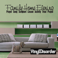 Family home evening prayer song scripture lesson activity treat prayers Child Teen Vinyl Wall Decal Mural Quotes Words FHE002VII