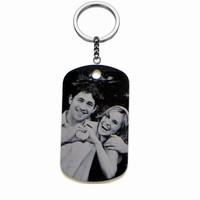 Custom Personal ID Tag Stainless steel Key Chains, Engrave Your Photos Letters, Anti wandered off,Emergency Tag Keychains