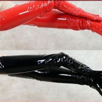 FREE SHIPPING NEW WOMEN GIRL SEXY BLACK RED PVC LEATHER LOOK SHINING LONG GLOVES CLUB DANCE pvc costume leather lingerie