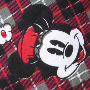 Disney Minnie Mouse Flannel Craft Fabric Red Black Grey Plaid Tartan Clean Kid Fabric Girl Fabric Destash By The QUARTER Yard 9 x 41 Inch
