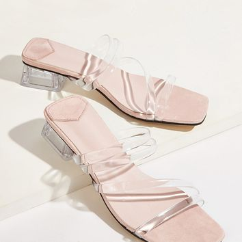 Transparent Strappy Chunky Heeled Slippers