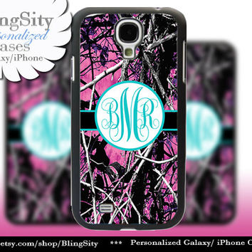 Camo Aqua Monogram Galaxy S4 case S5 RealTree Pink Purple Muddy Camo Personalized Samsung Galaxy S3 Case Note 2 3 Cover Country Girl