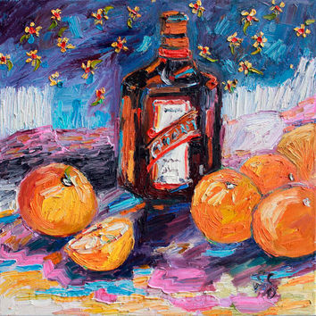 Cointreau - Orange Liqueur Impressionist Original Oil Painting by Ginette