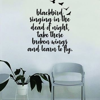 Learn to Fly V2 Quote Wall Decal Sticker Vinyl Room Art Bedroom Decor Decoration Teen Music Beatles Paul McCartney John Lennon Blackbird Inspirational