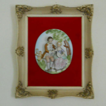 Victorian Wall Art / Large Porcelain Cameo Relief of Romantic Couple on Red Velvet in Ornate Antique Frame