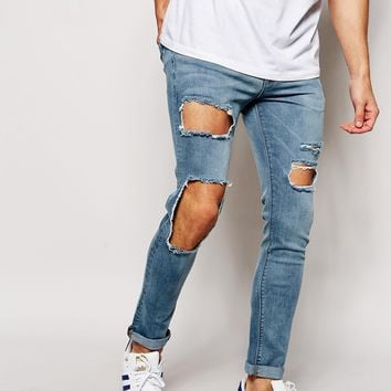 ASOS Super Skinny Jeans With Open Rips