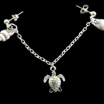 Turtle and Shell Cartilage Earring Set With Chain and Pearls