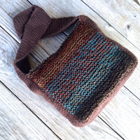 Shoulder Bag Purse for Women, Crochet & Knit Handbag in Brown Rust and Blue Tweed, Knit Purse, Lined Boho Handbag, Tweed Slouch Bag, #H0023