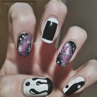 False Nail Set - Paint drip, galaxy print, yin yang, acrylic, artificial, press on fake nails
