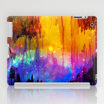CASTLES IN THE MIST Magical Abstract Acrylic Painting Mixed Media Fantasy Cosmic Colorful Galaxy  iPad Case by EbiEmporium