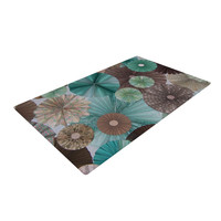 "Heidi Jennings ""Atlantis"" Teal Brown Large Woven Area Rug - Outlet Item"
