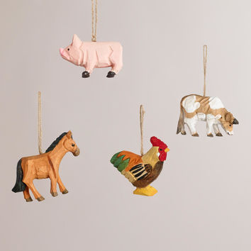 Wooden Farm Animal Ornaments, Set of 4 - World Market