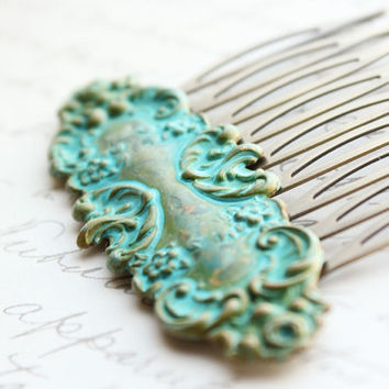 Verdigris Patina Comb, Victorian, Floral, Vintage Style, Shabby Chic, French Romantic, Rustic Teal Aqua Patina, Blue Green
