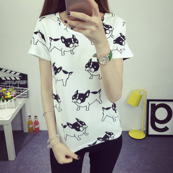 Vouge Summer Women T-Shirt Cartoon Cat Printed Short Sleeve Cotton Casual Tops Shirt