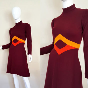 Vintage 60s Dress / Mod Dress / Fannye's Roanoke Rapids NC / Color Block Dress / Vintage Wool Dress / Size S