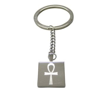 Silver Toned Etched Ankh Cross Pendant Necklace