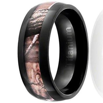 8MM Titanium Ring Wedding Band Black Plated with Camouflage Inlay Domed Top