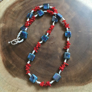 Red, White, Blue Beaded Necklace, Fourth of July Jewelry, Porcelain Beaded Necklace, Red, Coral Bamboo Necklace, Long Necklace
