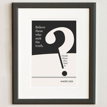 Illustration, Andre Gide Quote, Fine Art Print and Art Poster, Black and White Minimalist Art, Graphic and Geometrics