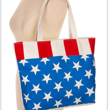 Red white and blue, American flag  print canvas tote, Summer bag, Beach tote bag, cute bags - by PiYOYO