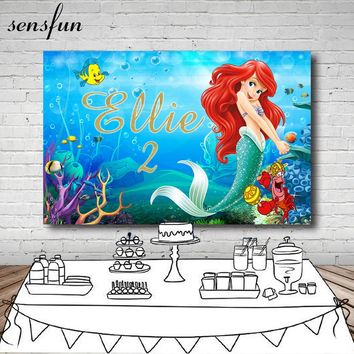 Sensfun Girls Little Mermaid Photography Backdrop Custom Name Years Under The Sea Fish Bubble Backgrounds For Photo Studio