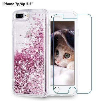 Iphone 8 Plus Case Iphone 7 Plus Case Maxdara [screen Protector] Glitter Liquid Protective Bumper Case Floating Bling Sparkle Quicksand Pretty Fashion Design For Girls Children 5.5 Inch (rosegold)