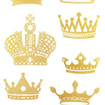 "Latest hot selling and fashionable tattoo sticker product dimension 6.69""""x3.74"" different noble crowns Golden gold realistic temporary tattoo stickers"