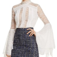Alice + Olivia Ivy Lace Bell-Sleeve Blouse | Bloomingdales's