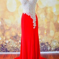 SHEER NUDE RED FORMAL EVENING PROM LONG PAGEANT HOLIDAY PARTY GOWN DRESS XS 2