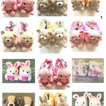 MDIG2JE WOMENS GIRLS NOVELTY COSY 3D ANIMAL SLIPPERS SIZE UK 4 - 5 NEW *CHOOSE TYPE*