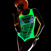 Neon Green UV Bodysuit-EDM Clothing