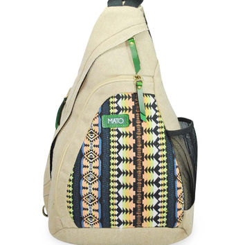 Mato Canvas Sling Bag Backpack Single Strap Daypack Boho Geometric Woven Pattern Beige