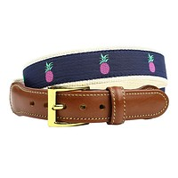 Pineapple Leather Tab Belt in Navy by Country Club Prep