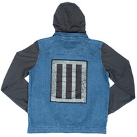 Black Patch Denim Hoodie