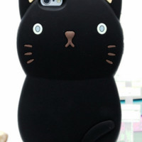 3D Cartoon Cat Soft Silicone Case For iPhone
