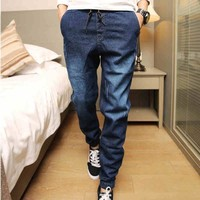 Denim Jeans Men Drawstring Slim Fit Denim Joggers Mens Joggers Jeans Stretch Elastic Jean