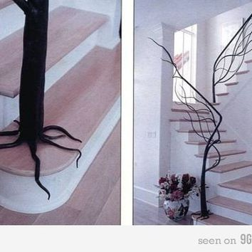 Tree staircase handrail