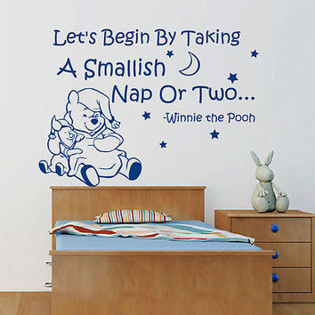 Winnie The Pooh Quote Wall Decals Let's Begin By Decal Nursery Room Decor MR346