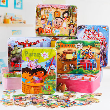 100pcs/set Wooden Puzzle Cartoon Toy 3D Wood Puzzle Iron Box Package Jigsaw Puzzle for Child Educational Montessori Wooden Toys