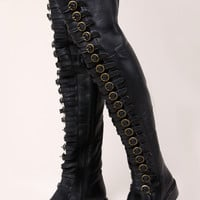 Black Leather Over the Knee OTK Thigh High Boots   Thrifted & Modern