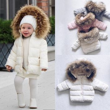 2018 Spring Baby Toddler Boys Girls Warm Fur Hoody Coat Fashion Kids Winter Jacket Unisex Baby Down Coat